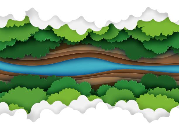 森林キャノピー ペーパー アートのトップ ビュー - 森林 俯瞰点のイラスト素材/クリップアート素材/マンガ素材/アイコン素材