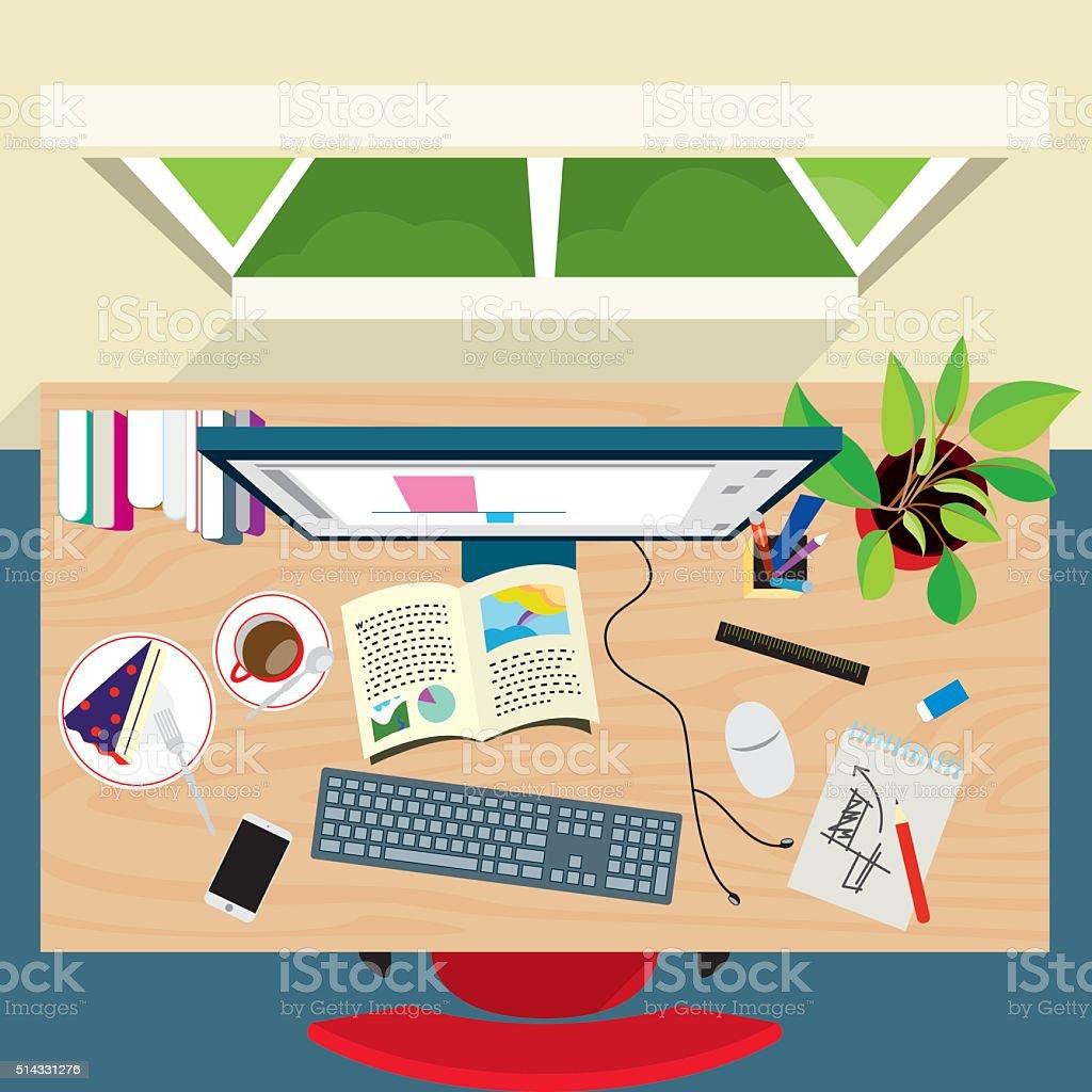 Top view of graphic designer concept desk vector art illustration