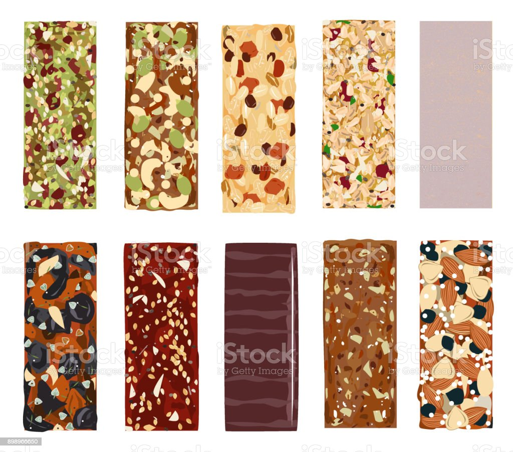 Top View Of Hand Drawn Healthy And Energy Bars, Nuts, Granola, Muesli Or