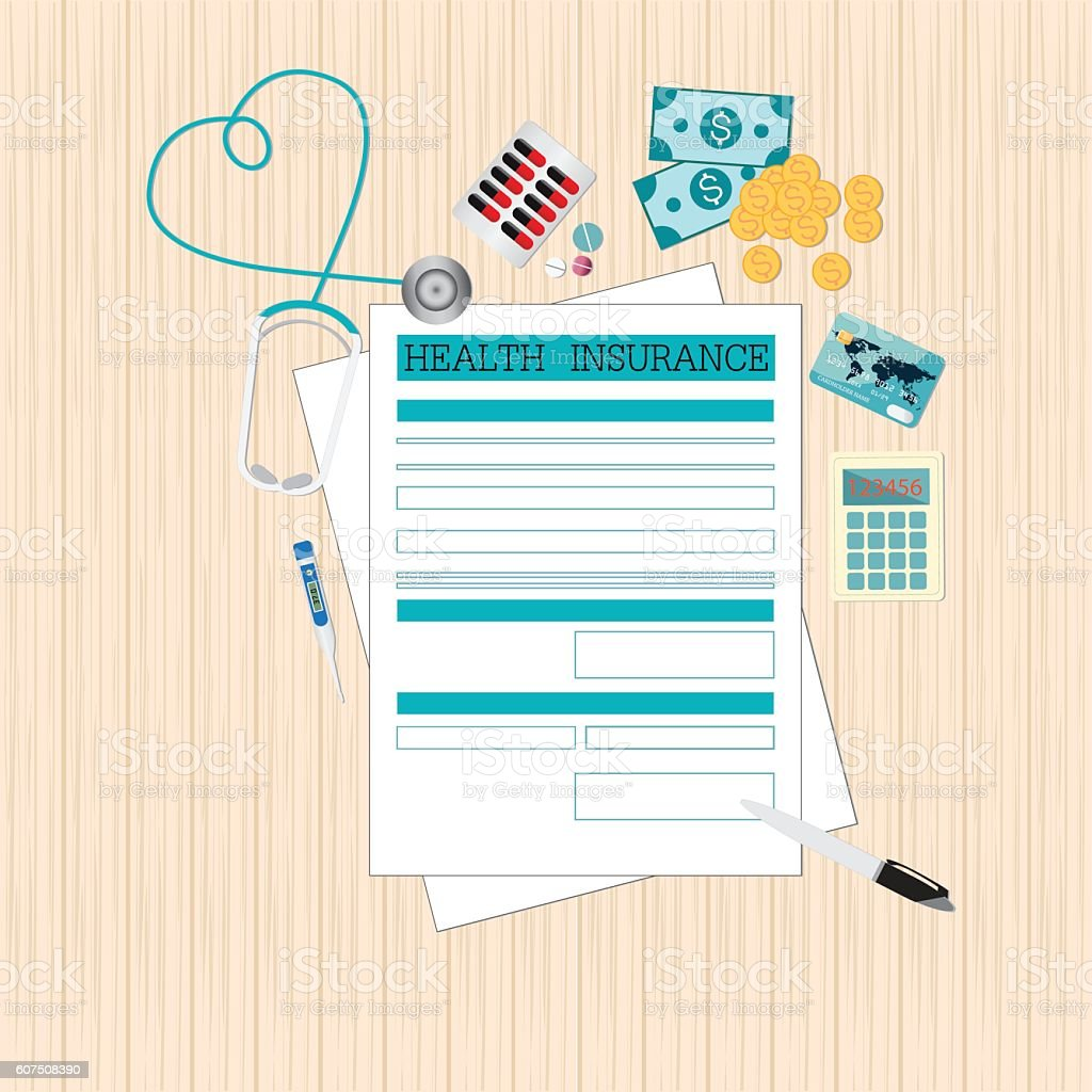 top view of health insurance form life planning のイラスト素材