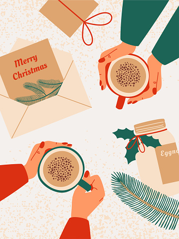 Top view of Human hands hold mug with eggnog surrounded by gifts, greeting cards with wishes Merry Christmas, bottle with eggnog