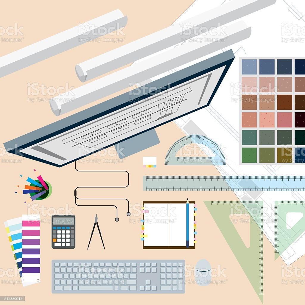 Top view of  interior designer concept desk vector art illustration