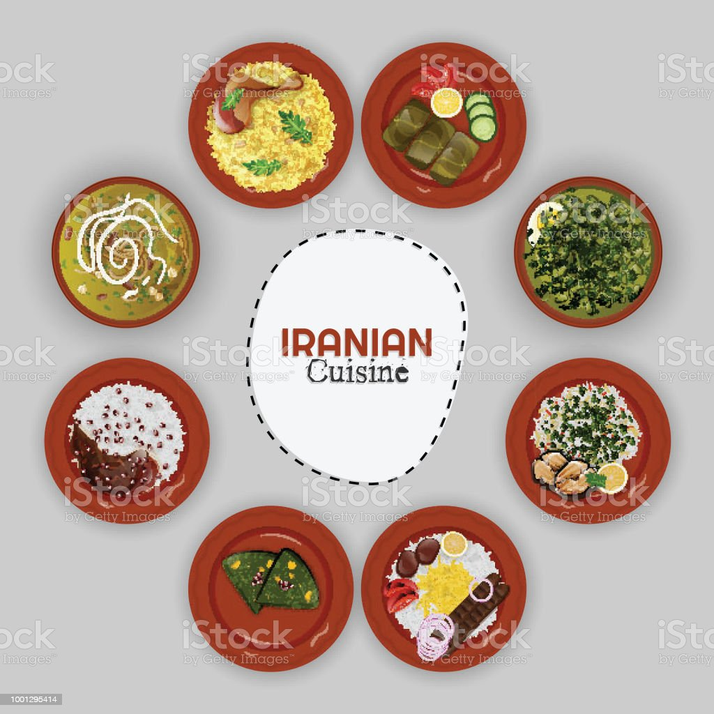 Draufsicht Der Iranischen Küchesammlung Mit Ethnischen Menü Auf ...