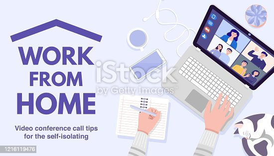 istock Top view of man's hands using laptop for Video Conferencing at home. Vector 1216119476