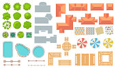 Top view of park and city elements flat icon set. Cartoon fences, trees, houses, tiles, buildings for map design vector illustration collection. Architecture and landscape concept