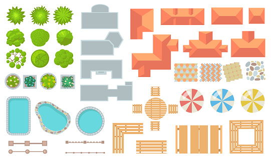 Top view of park and city elements flat icon set