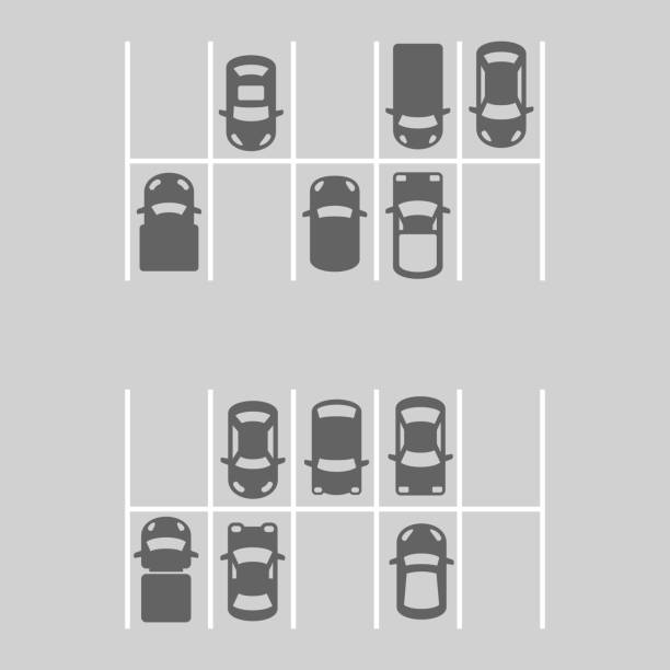 stockillustraties, clipart, cartoons en iconen met top view of parking lot. vector - parking