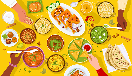 Top view of people enjoying Indian food together.