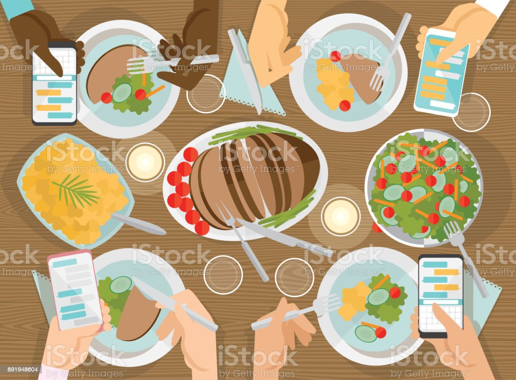 top view of people having dinner while using cell phone vector art illustration
