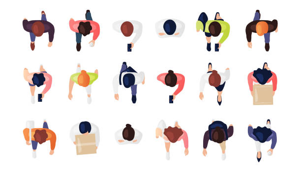 Top view of people set isolated on a white background. Men and women. View from above. Male and female characters. Simple flat cartoon design. Realistic vector illustration. Top view of people set isolated on a white background. Men and women. View from above. Male and female characters. Simple flat cartoon design. Realistic vector illustration. directly above stock illustrations