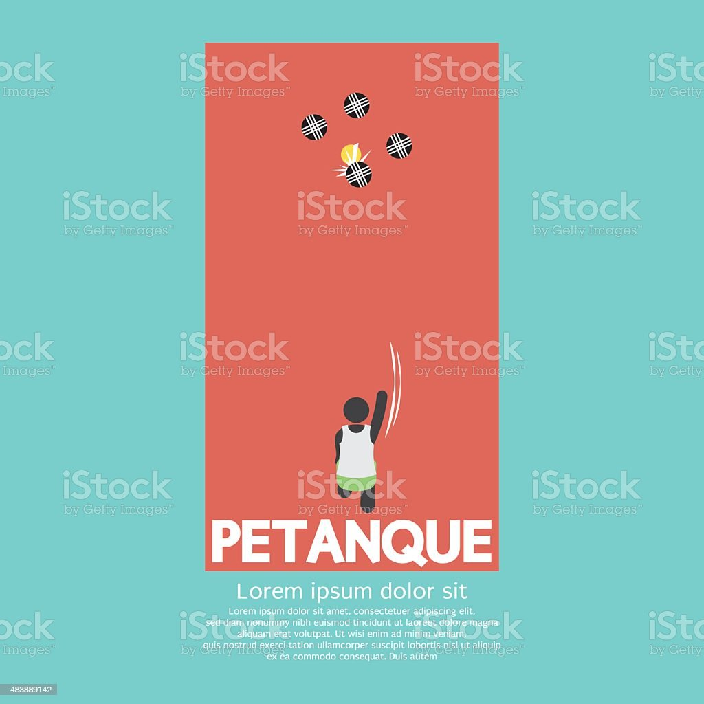 Top View Of Petanque Playing vector art illustration