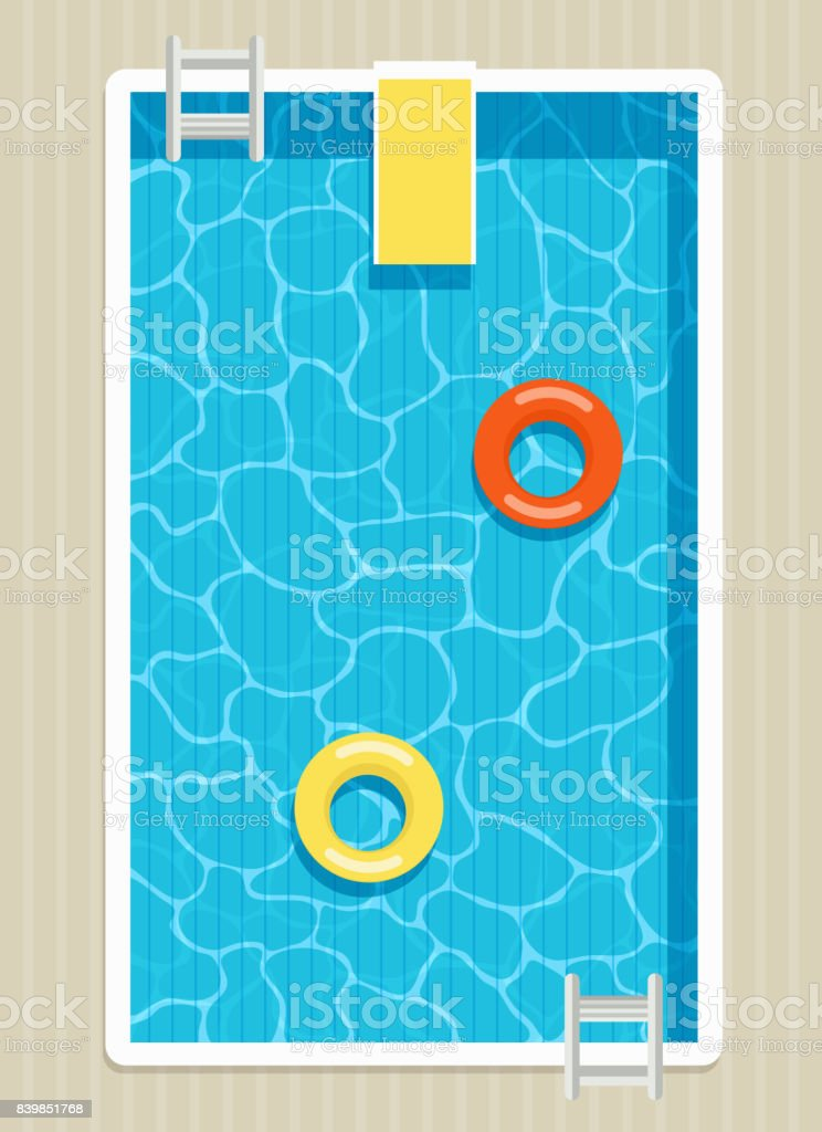 Top view of pool with inflatable circles. vector art illustration