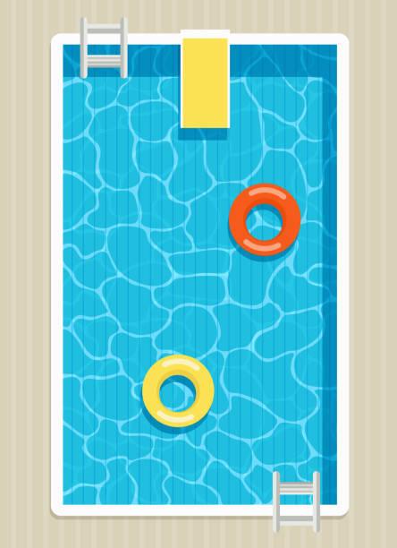 bildbanksillustrationer, clip art samt tecknat material och ikoner med ovanifrån av pool med uppblåsbara ringar. - pool