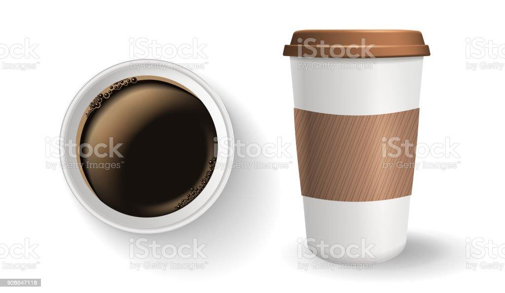 Draufsicht Der Realistisch Zu Gehen Und Zum Mitnehmen Kaffee ...