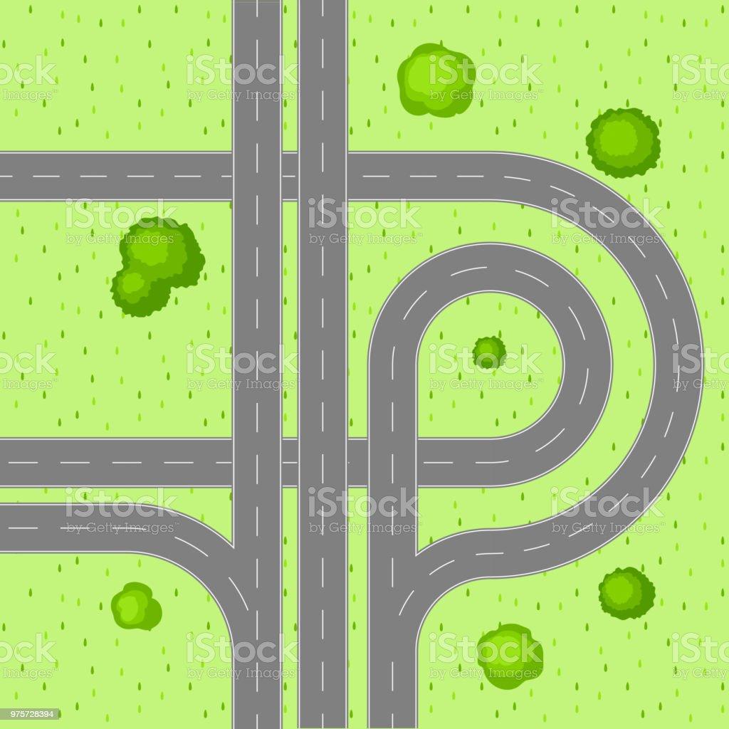 Draufsicht der Straßenkreuzung - Lizenzfrei Asphalt Vektorgrafik