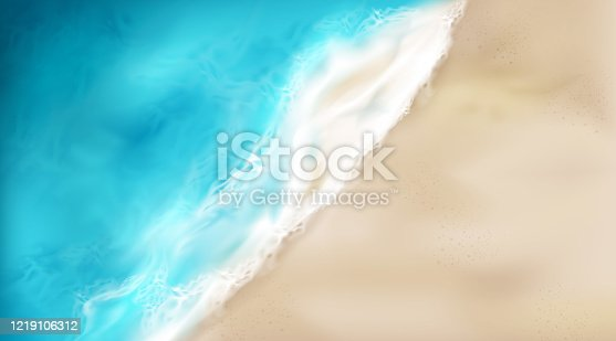 Top view of sea wave with foam splashing on beach with sand. Blue ocean foamy water splash on coastline background. Nature surface at summer day, nautical seascape, Realistic 3d vector illustration
