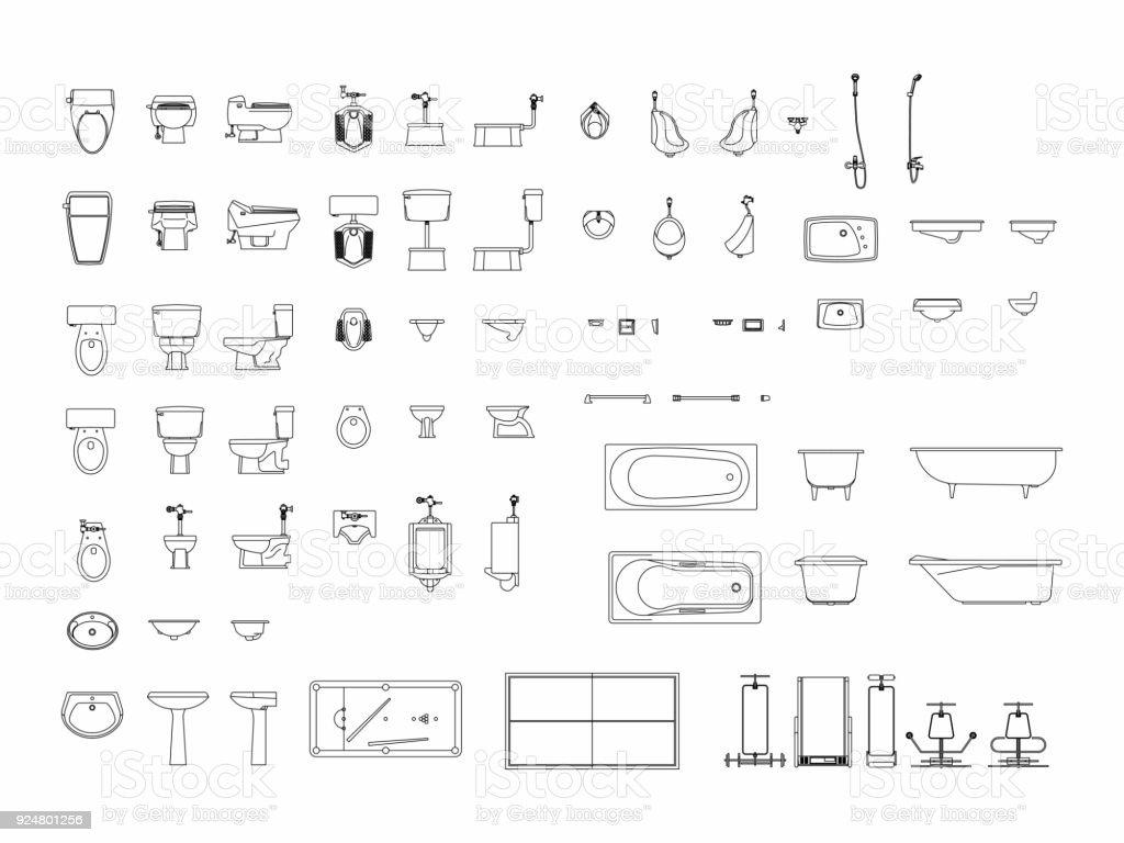 Draufsicht der eingestellten Möbel Elemente Gliederung Symbol für Bad, WC, Toilette. Innenraum-Symbol. – Vektorgrafik
