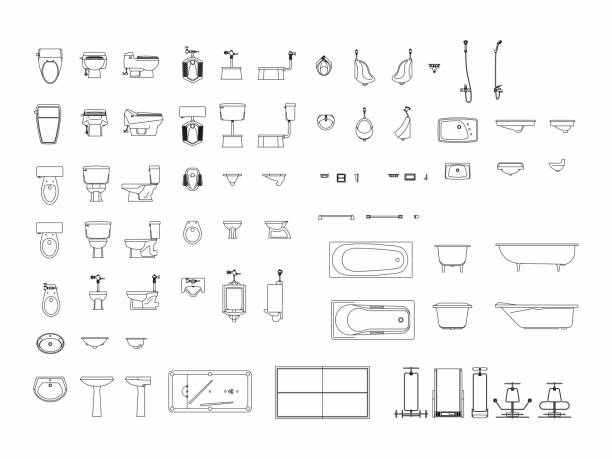 draufsicht der eingestellten möbel elemente gliederung symbol für bad, wc, toilette. innenraum-symbol. - badezimmer stock-grafiken, -clipart, -cartoons und -symbole