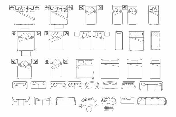 draufsicht der eingestellten möbel elemente gliederung symbol für schlafzimmer und wohnzimmer. innenraum-symbol-bett und sofa. - bodenbetten stock-grafiken, -clipart, -cartoons und -symbole