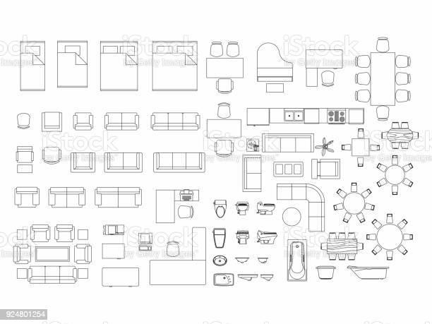 Top view of set furniture elements outline symbol for bedroom kitchen vector id924801254?b=1&k=6&m=924801254&s=612x612&h=tltmyjtt9yolqpsrvlpruft8r0pl62wkoqby6ixb kk=