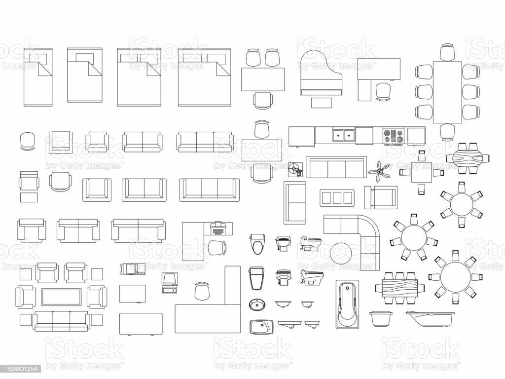 Vue de dessus du symbole du plan éléments ensemble de meubles pour chambre à coucher, cuisine, salle de bain, salle à manger et salon. Lit d'icône intérieur, chaise, table et canapé. - Illustration vectorielle