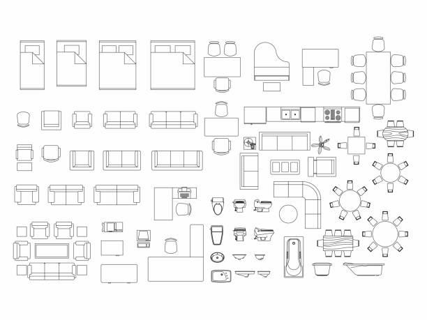 top view of set furniture elements outline symbol for bedroom, kitchen, bathroom, dining room and living room. interior icon bed, chair, table and sofa. - architecture symbols stock illustrations