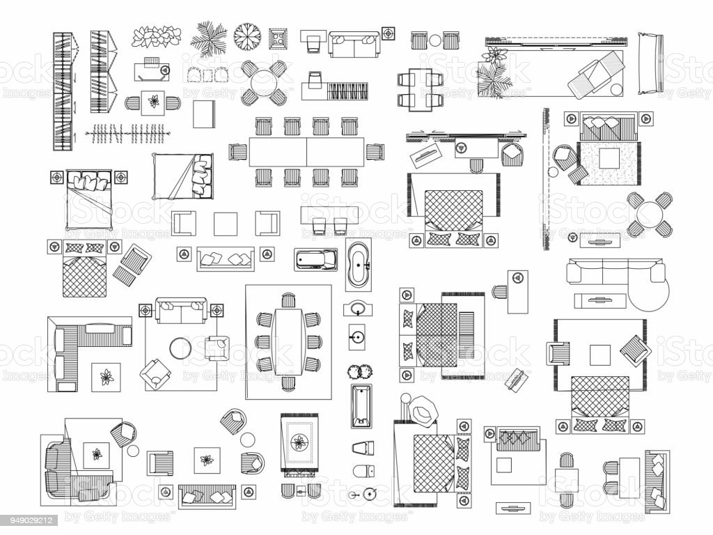 floor plan furniture symbols bedroom. Top View Of Set Furniture Elements Outline Symbol For Bedroom, Kitchen, Bathroom, Dining Floor Plan Symbols Bedroom
