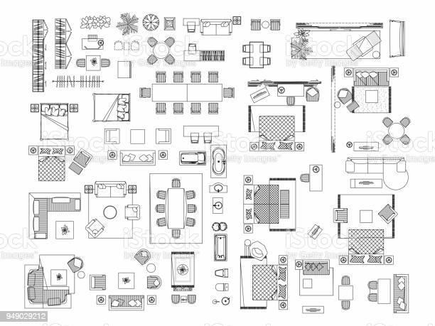 Top view of set furniture elements outline symbol for bedroom kitchen vector id949029212?b=1&k=6&m=949029212&s=612x612&h=g0 rcyy8bkslrlep28hqdjmizzmhql lzmmf19f7x m=