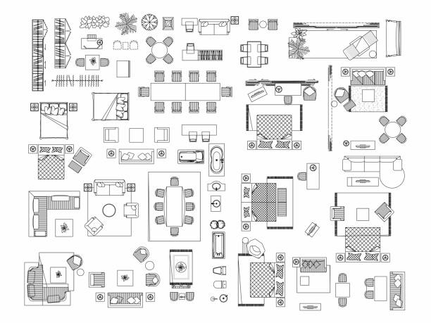 ilustrações de stock, clip art, desenhos animados e ícones de top view of set furniture elements outline symbol for bedroom, kitchen, bathroom, dining room and living room. interior icon bed, chair, table and sofa. - chair