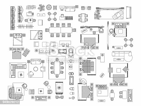 Top View Of Set Furniture Elements Outline Symbol For