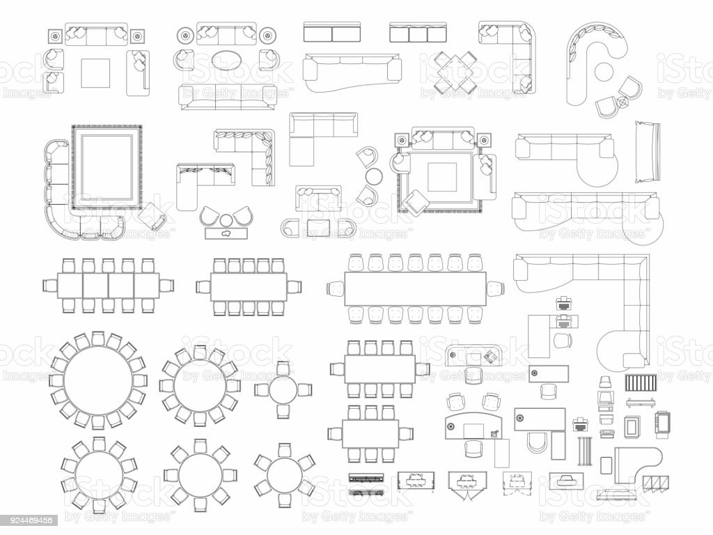 Top View Of Set Furniture Elements Outline Symbol For Dining Room, Office,  Working,