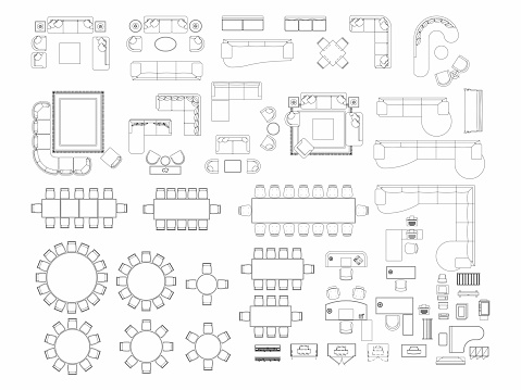 Top view of set furniture elements outline symbol for dining room, office, working, living room and accessories. Interior icon chair, table and sofa.