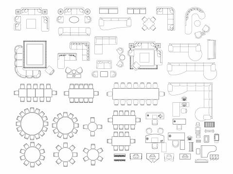 Ovanifrån Av Set Möbler Element Dispositionssymbol För Matsal Kontor Arbetar Vardagsrum Och Tillbehör Interiörikonen Stol Bord Och Soffa-vektorgrafik och fler bilder på Arbeta