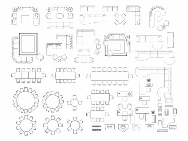ilustrações de stock, clip art, desenhos animados e ícones de top view of set furniture elements outline symbol for dining room, office, working, living room and accessories. interior icon chair, table and sofa. - table