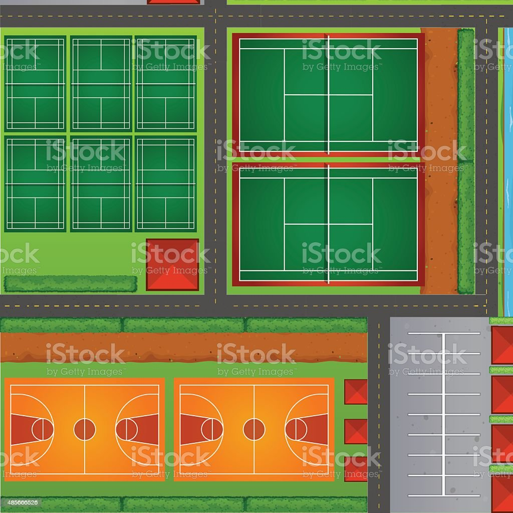 Top view of sport courts vector art illustration