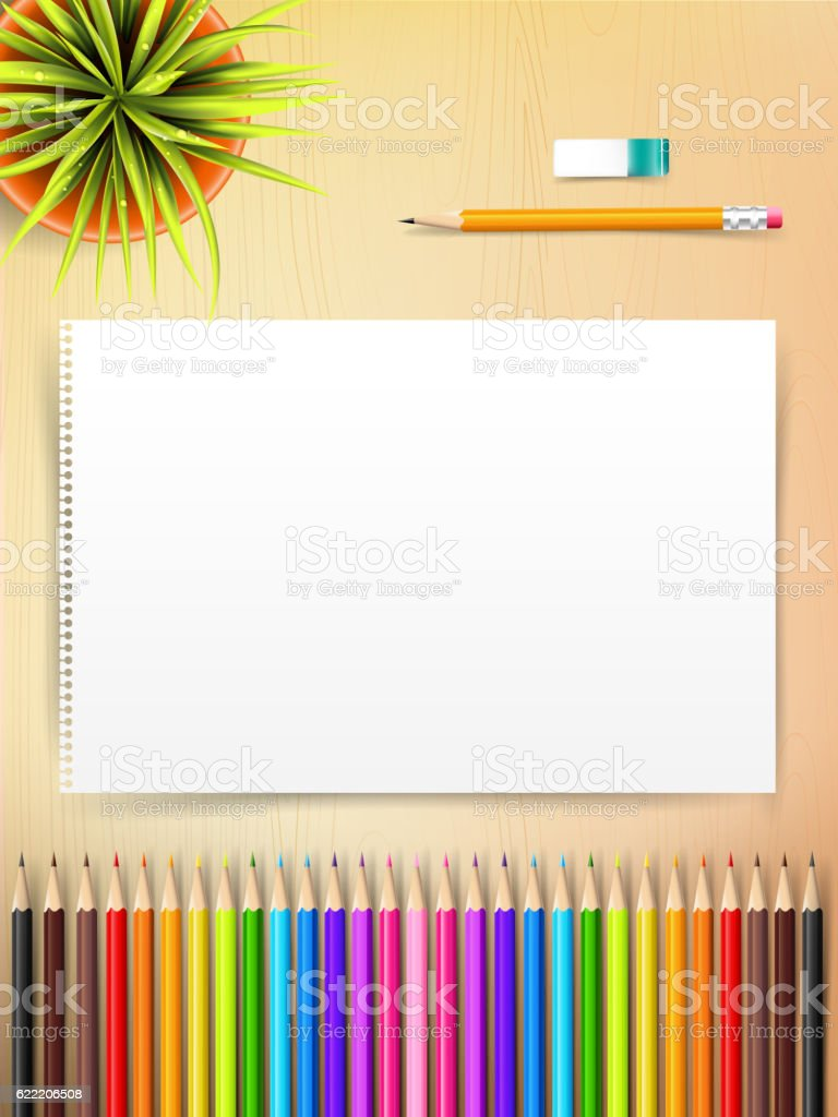Top view of stationary blank paper and color pencil with vector art illustration
