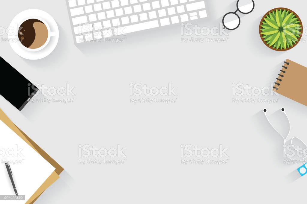 Top View Of Table Working And Working Desk With Gadget And Free