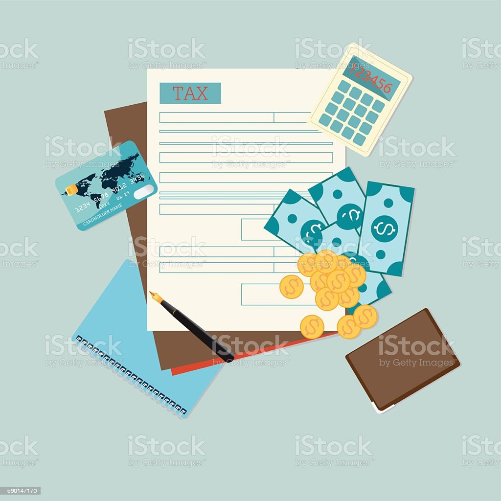 Top view of tax form. vector art illustration