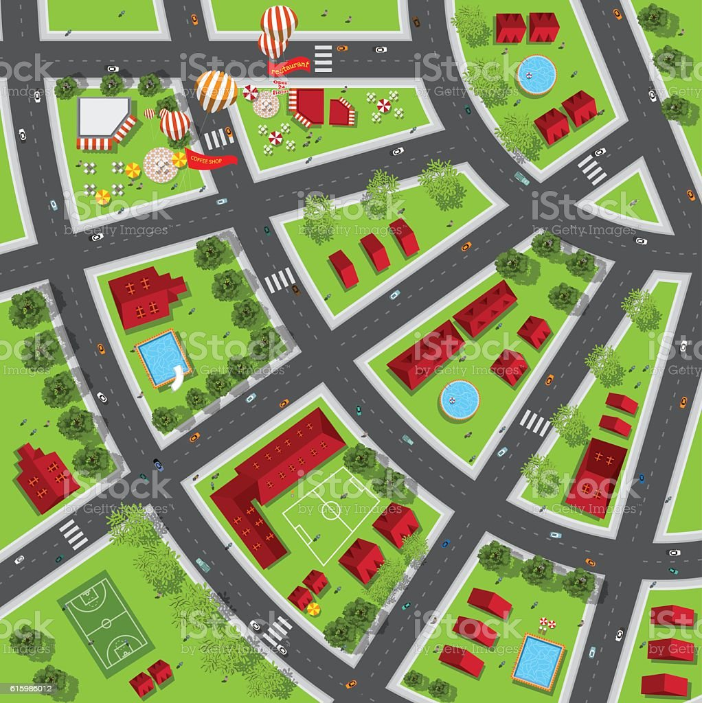 Top view of the city of streets, roads, houses, treetop vector art illustration