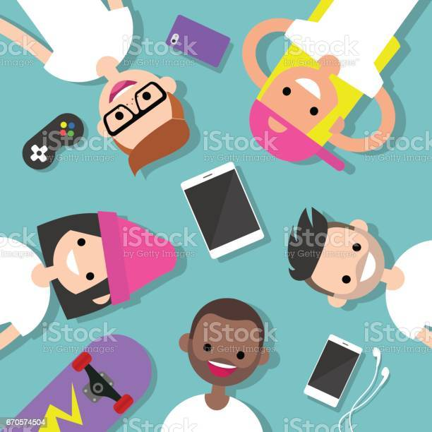 Top view of the group of millennials lying on the floor surrounded by vector id670574504?b=1&k=6&m=670574504&s=612x612&h=yqa8nmz 4ywgfbsx0acbhjscdgks5nmy 9odiajpk9c=
