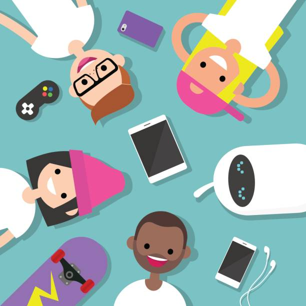 illustrazioni stock, clip art, cartoni animati e icone di tendenza di top view of the group of millennials lying on the floor surrounded by devices / flat editable vector illustration, clip art - gen z