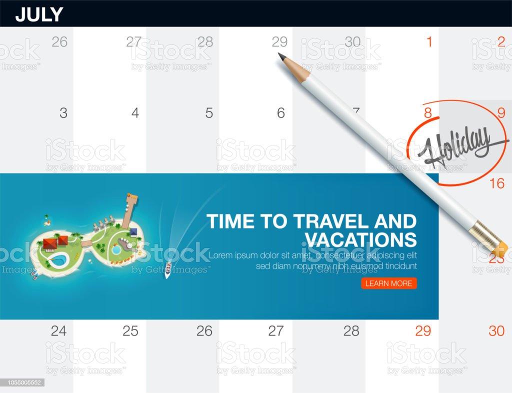 Draufsicht Der Insel In Form Einer Sonnenbrille Kalenderliste Mit
