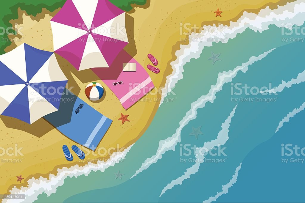 Top view of the sea beach vector art illustration