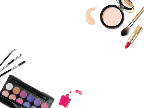 Top view of various make up accessories decorative cosmetics products. Workplace, cosmetics, lipstick, nail polish, mascara, face powder and eyeshadow on white background. Top view of various makeup decorative cosmetics products. Workplace, cosmetics, lipstick, nail polish, mascara, face powder and eyeshadow on white background white nail polish stock illustrations