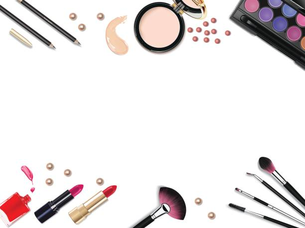 Top view of various make up accessories decorative cosmetics products. Workplace, cosmetics, lipstick, nail polish, mascara, face powder and eyeshadow on white background. Top view of various make up accessories decorative cosmetics products. Workplace, cosmetics, lipstick, nail polish, mascara, face powder and eyeshadow on white background white nail polish stock illustrations