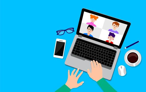ilustrações de stock, clip art, desenhos animados e ícones de top view of working on laptop. video conference landing. - teletrabalho