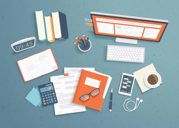 üstten görünüm işyeri arka plan, monitör, kitap, defter, kulaklık, telefon, belgeleri, klasör, planlayıcısı, hesap makinesi, kahve. çalışma alanı, analytics, en iyi duruma getirme, yönetim. vektör - çalışma masası stock illustrations