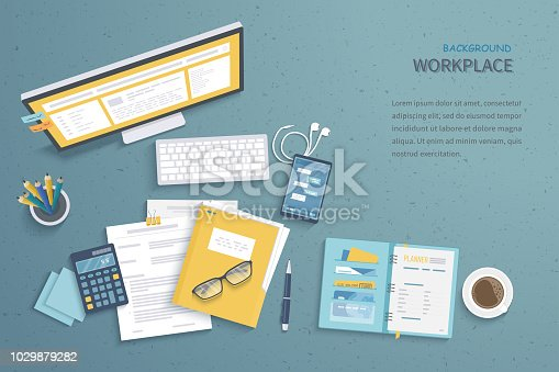 Top view of workplace background, monitor, keyboard, notebook, headphones, phone, documents, folder, planner, calculator, coffee. Workspace, analytics, optimization, management. Vector