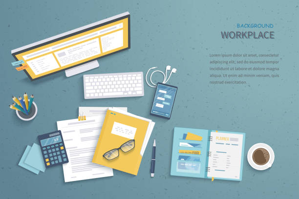 illustrazioni stock, clip art, cartoni animati e icone di tendenza di top view of workplace background, monitor, keyboard, notebook, headphones, phone, documents, folder, planner, calculator, coffee. workspace, analytics, optimization, management. - desk