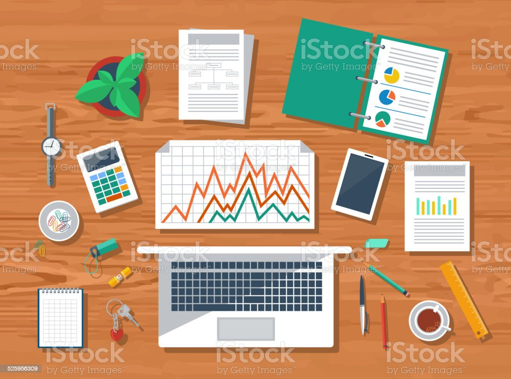 Top view of workplace with laptop and devices vector art illustration